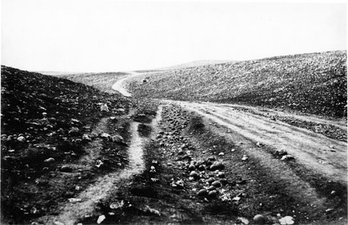Roger Fenton landscape photo after a battle in the Crimean War